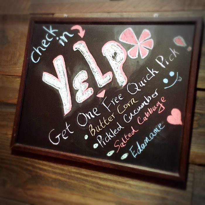 Check-in at Yelp when you dine with us!