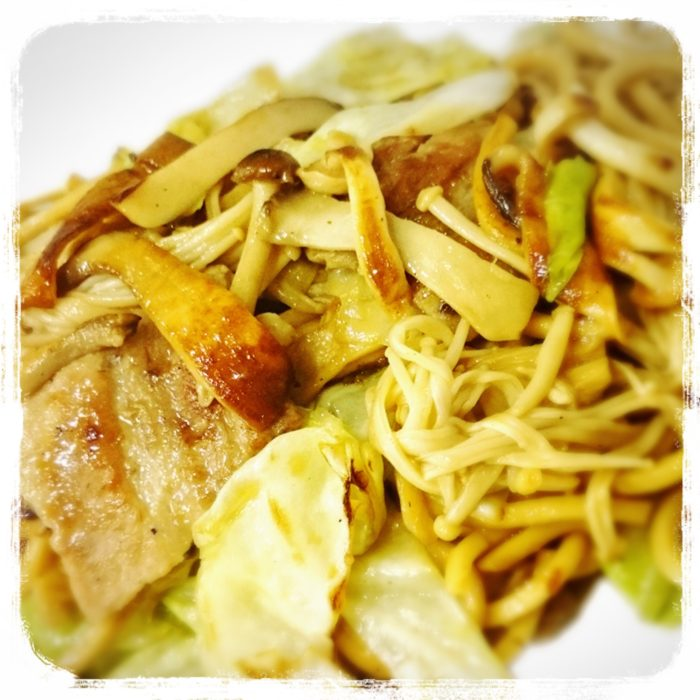 Kinoko Soy Yakisoba - Stir fried noodles with three kinds of mushrooms, pork and squid cooked with soy-based sauce